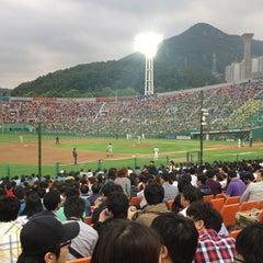 Photo taken at 사직야구장 (Sajik Baseball Stadium) by Dawoon L. on 5/30/2012
