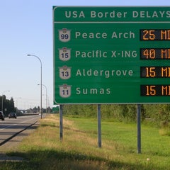 Photo taken at Peace Arch Border Crossing by BC Ministry of Transportation and Infrastructure on 8/20/2012