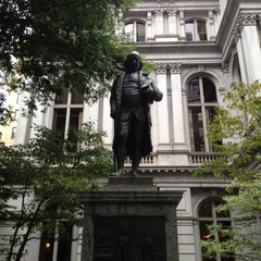 Photo taken at Benjamin Franklin Statue by Justin F. on 8/18/2012
