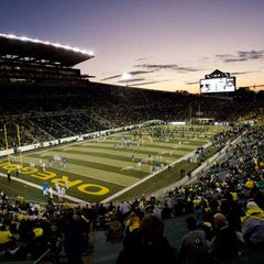 Photo taken at Autzen Stadium by Bowerman's Pack on 4/2/2012