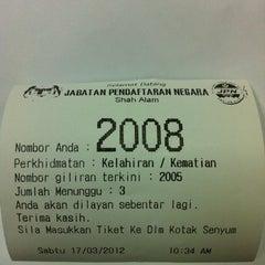 Photo taken at Jabatan Pendaftaran Negara Selangor by Ajoi on 3/17/2012