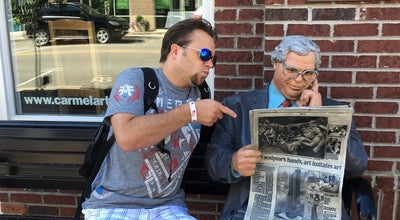 Photo of Art Gallery Man Reading Newspaper Statue at Carmel, IN, United States