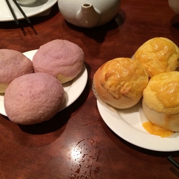 Salty egg bun and taro bun