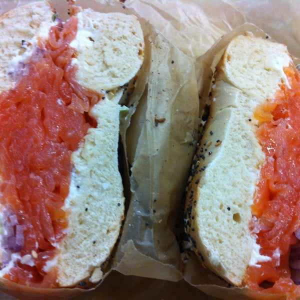 Yup. Scallion cream cheese and sliced lox is the bomb! (Warm or toasted bagel please!)