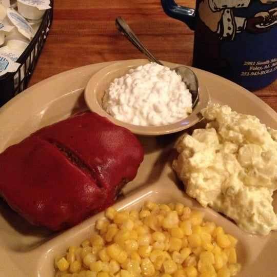 Never ever leave hungry! Try the meatloaf with cottage cheese, whole kernel corn, and potato salad! And whatever you do, don't make an ass out of yourself, catch that roll!