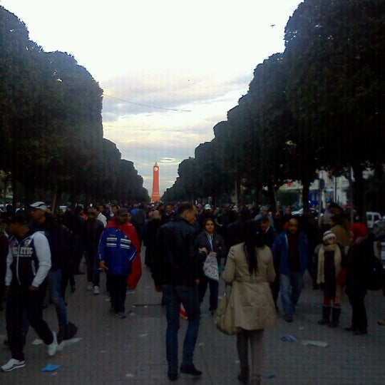 Photo taken at Avenue Habib Bourguiba by Anouar B. on 1/14/2013