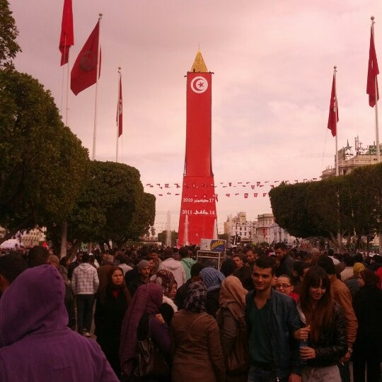 Photo taken at Avenue Habib Bourguiba I شارع الحبيب بورقيبة by Nawes M. on 1/14/2013