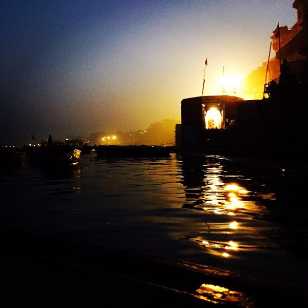Photo taken at Dasaswamedh Ghat by Shampy B. on 12/30/2014