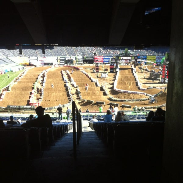Photo taken at Qualcomm Stadium by Austin S. on 2/8/2014