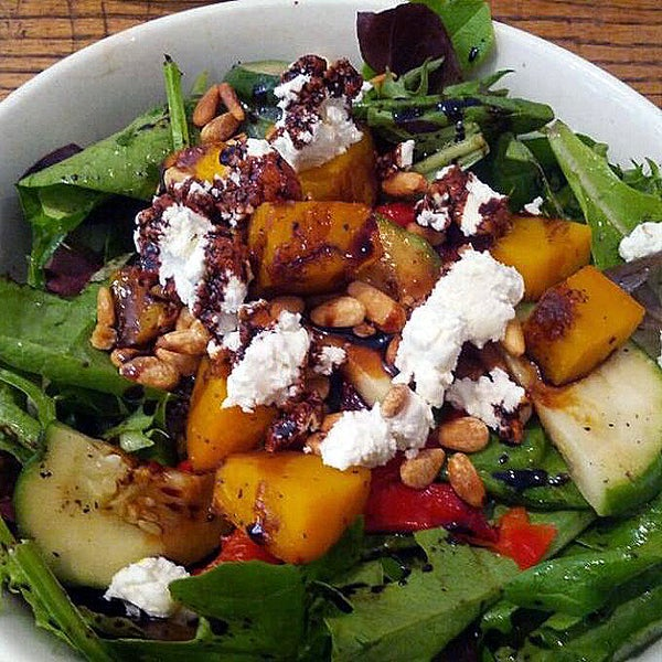 One of my favorite hearty salads in Soho is the roast vegetable salad with roast pumpkin, peppers, goat cheese, pine nuts, and arugula.