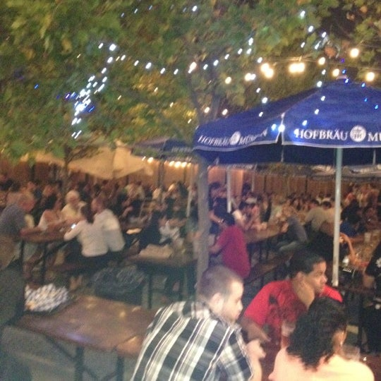 Photo taken at Zeppelin Hall Biergarten by Tim C. on 7/22/2012