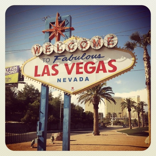 Photo taken at Welcome To Fabulous Las Vegas Sign by Jeff M. on 4/2/2012