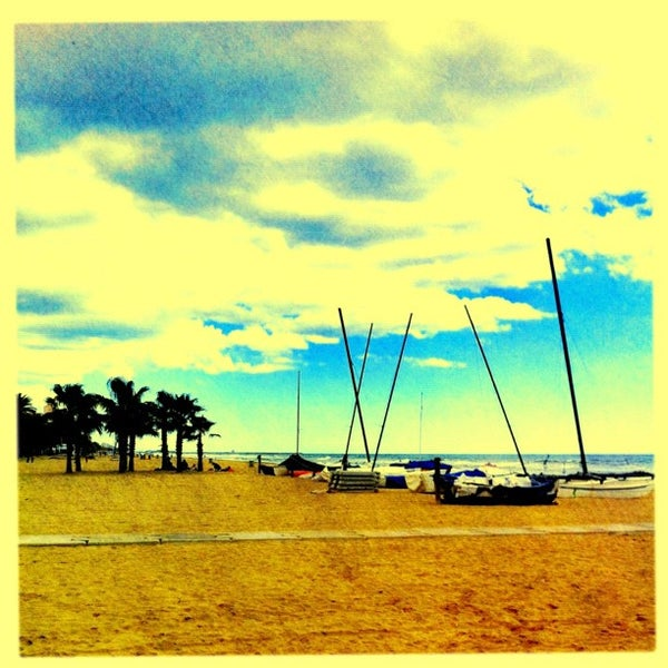Photo taken at Platja de Calafell by Guillermo D. on 4/7/2012