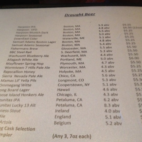 Fantastic beer list — including about 15 local craft brews!