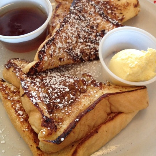 If you order any breakfast plate that comes with pancakes, you can substitute them for French toast.