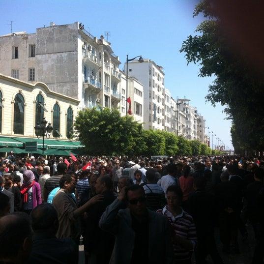 Photo taken at Avenue Habib Bourguiba by Ali B. on 5/1/2012