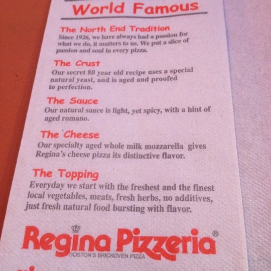 Photo taken at Regina Pizzeria by Ro S. on 6/12/2012