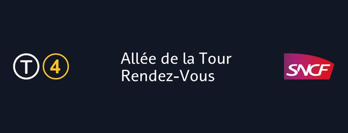 Station Allée de la Tour — Rendez-Vous [T4] is one of Tramway T4.