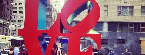 LOVE Sculpture by Robert Indiana is one of Iconic NYC Outdoor Art.