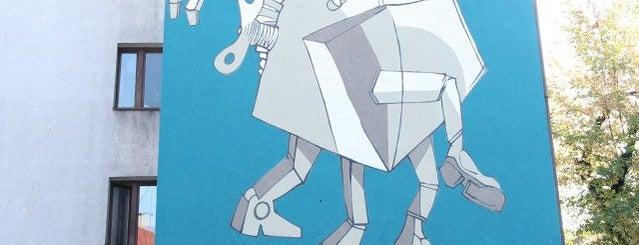 Robot Lema - Mural is one of Street Art w Krakowie: Graffiti, Murale, KResKi.