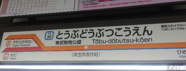 Tōbu-Dōbutsu-Kōen Station (TS30) is one of 東武伊勢崎線.