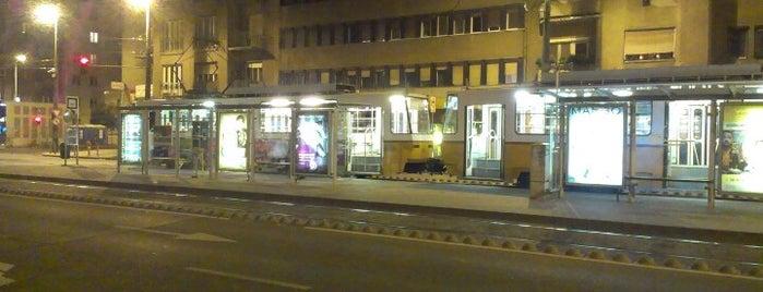 Újbuda-központ M (18, 41, 47, 48) is one of Budai villamosmegállók.