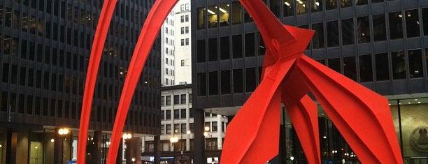 Alexander Calder's Flamingo Sculpture is one of Explore Chicago.