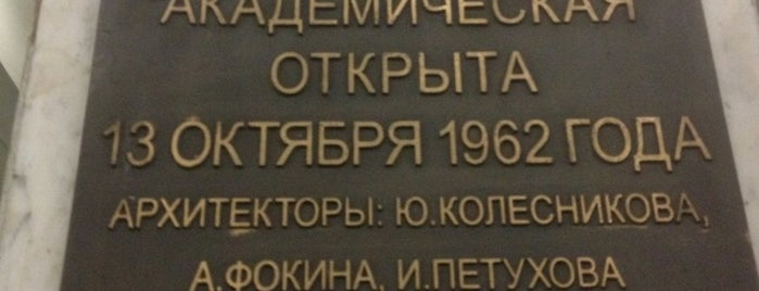 metro Akademicheskaya is one of Complete list of Moscow subway stations.
