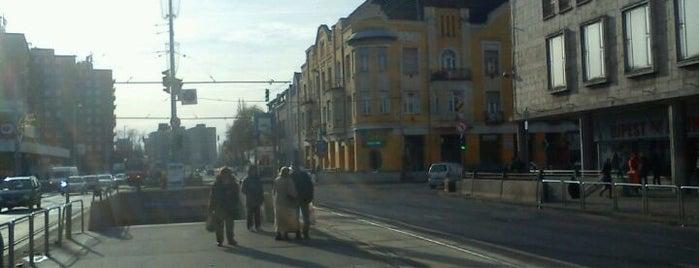 Újpest-Központ M (12, 14) is one of Pesti villamosmegállók.
