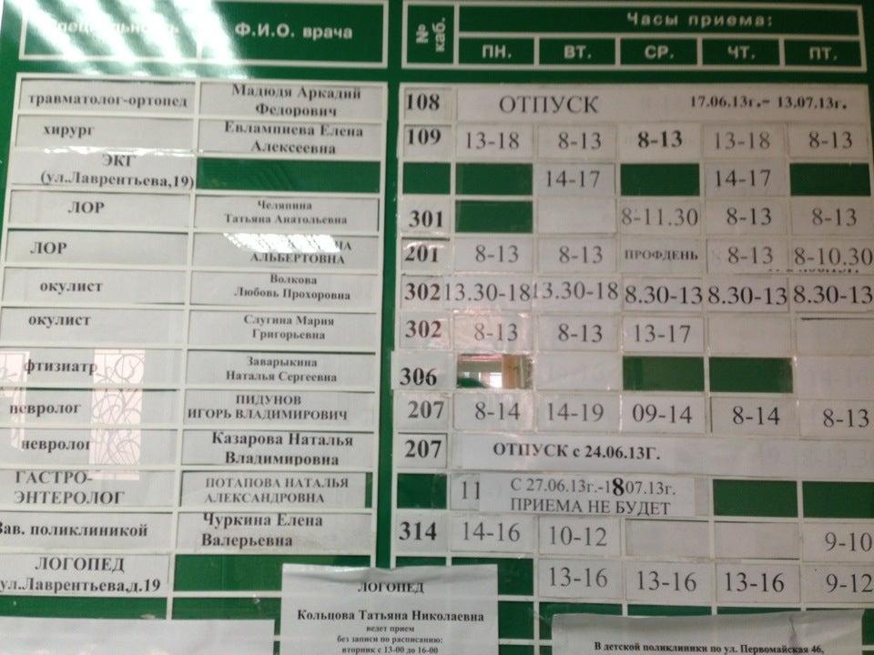 поликлиника 1 детская расписание врачей как хочется