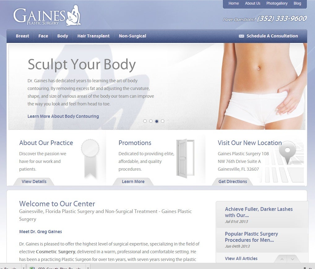 GAINES PLASTIC SURGERY,botox,breast augmentation,hair transplant,liposuction,plastic surgeon