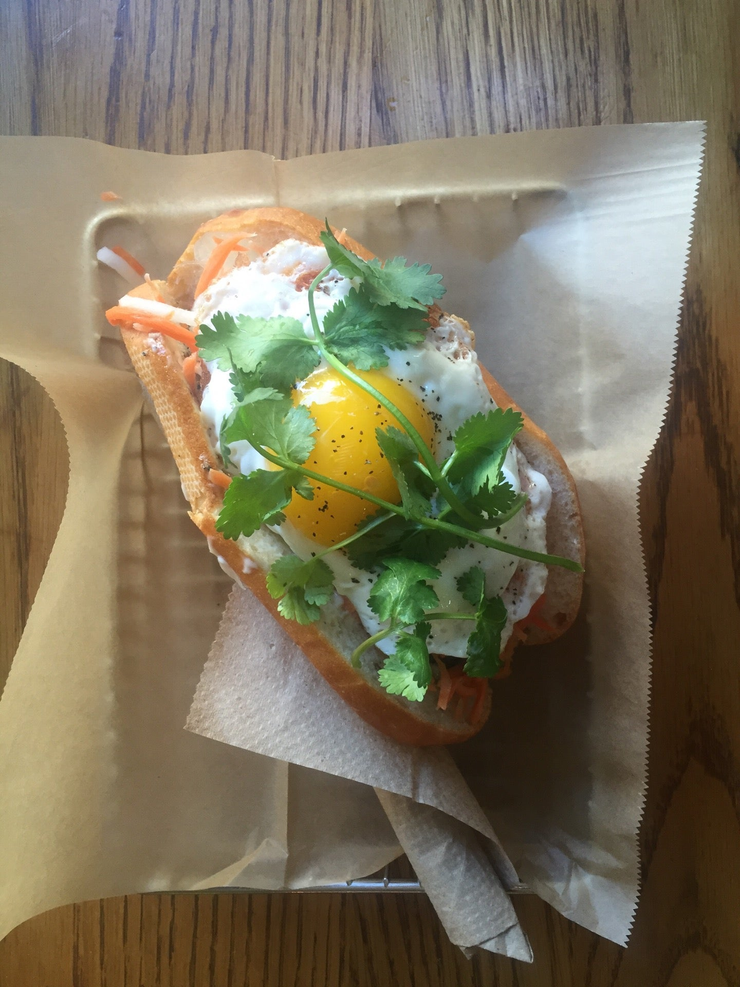 Lemongrass Pork Banh Mi With Poached Egg