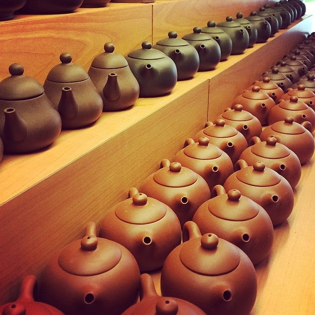 Clay pots at Yixing Xuan Teahouse. Photo by Soohan H. on Foursquare